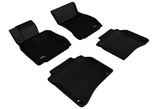 3D MAXpider Complete Set Custom Fit All-Weather Floor Mat for Select Mercedes-Benz S-Class (W221L) Models - Kagu Rubber (Black) - Mercedes Benz S Class Rubber