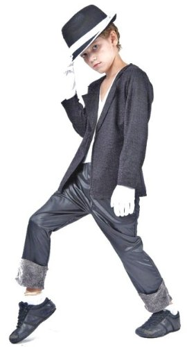 [Michael Jackson 4pc Childs Fancy Dress Costume - L 146cms] (Childrens Fancy Dress Costumes Uk)