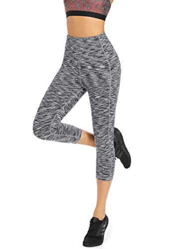 Olacia Womens Yoga Workout Leggings High Waisted 4-Way Stretch Capris Tummy Control Athletic Running Leggings with Pockets, Heather Grey, Large