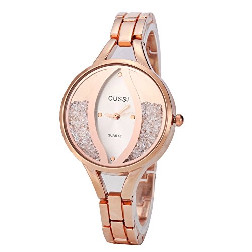 Ladies Angel Eye Bracelet Dress Crystal Wrist Watch for Women - Female Rose Gold