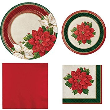 Creative Converting Plaid Poinsettia Entertaining Bundle Serves 16 Guests:16 Dinner Plates, 16 Dessert Plates, 16 Beverage and 50 Luncheon Napkins