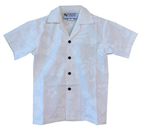Alohawears Clothing Company Boy's White Wedding Cruise Luau Hawaiian Aloha Shirt (6, White/White)