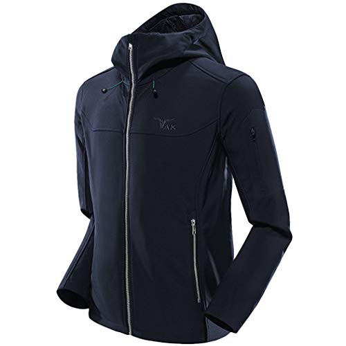 TAK Men's Softshell Jacket Packable Light Coat Navy Blue-M