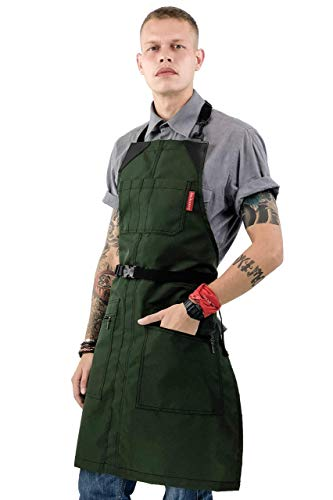 (No-Tie Barber Green Apron - Coated Heavy-Duty Nylon, Water and Chemical Resistant, Zipped Pockets, Split-Leg - Adjustable for Men, Women - Pro Hair Stylist, Colorist, Artist, Bartender)