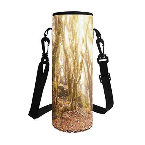 Rainforest Decorations Stylish Bottle Sleeve,Morning Sun Rays Mist in Virgin Mountain Forest Moss on Trees Natural Paradise for Bottle & Vacuum Cup,3.7''L x 3.7''W x 10.2''H