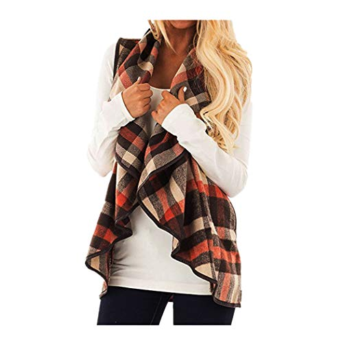 CUCUHAM Womens Vest Plaid Sleeveless Lapel Open Front Cardigan Sherpa Jacket Pockets