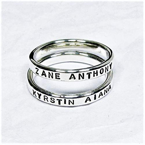 Personalized Sterling Silver Stacking Rings set of 2, Custom Names, Dates,...