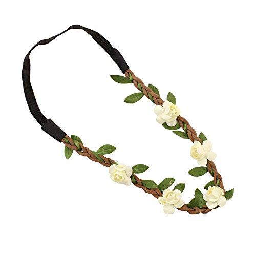 Kewl Fashion Seaside Beach Floral Crown Garland Halo Bridal Wreath Headband - Garland Leather