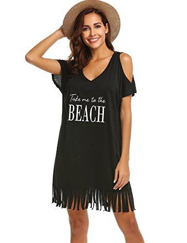 SUNAELIA Womens Letters Print Swimsuit Cover up Bikini Beach Dress