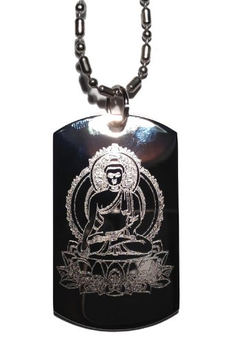 Buddha Sitting on Lotus Leaf Buddhism Religous Symbol Logo - Military Dog Tag Luggage Tag Key Chain Metal Chain - Lotus Tag