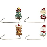 4 Pack Christmas Stocking Holders for Mantel, Gold Hooks Classic Sturdy Christmas Stocking Holders for Indoor Fireplace…