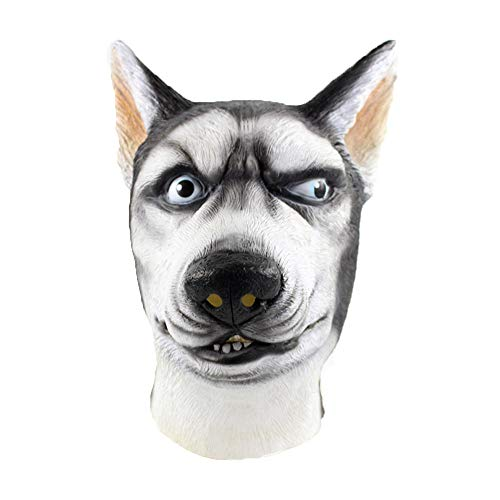 (CMrtew ❤️ Halloween Mask, Siberian Husky Mask Wolf Dog Latex Animal Fancy Dress Canine Halloween Masks (White,)