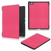 (2017)KOBO Aura H2O Edition 2 Case, EpicGadget(TM) Luxury Texture Auto Sleep/Wake Lightweight Slim Folio Smart Cover Case for KOBO Aura H2O Edition 2 eReader (Hot Pink)
