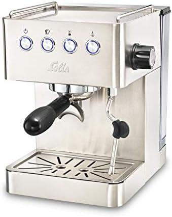 Solis Espressomaschine, Programmierbare Tassengröße, Dampf- und Heißwasserfunktion, 58 mm Profi-Siebhalter, 15 bar, 1,7 l Wassertank, Edelstahl, Barista Gran Gusto (Typ 1014)