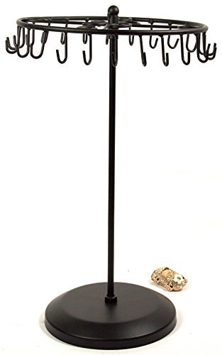 Bejeweled Display® Black Color 24 Hooks Rotating Necklace holer/Jewelry Organizer Display Stand w/ Gift Box