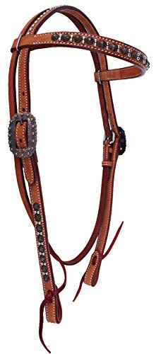 Headstall Tie Ends - Horse Tack Browband Studded Headstall w/Tie Ends 78RT03