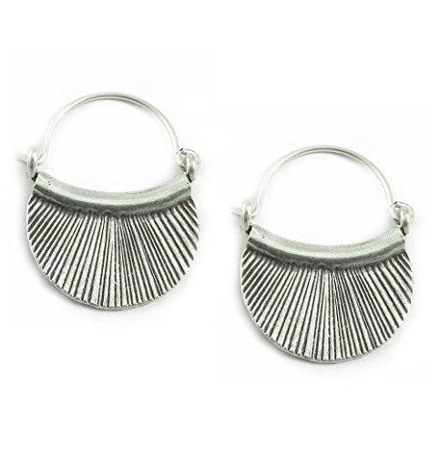 Crescent Hoop - Handmade Sterling Silver Crescent Boho Hoop Earrings,