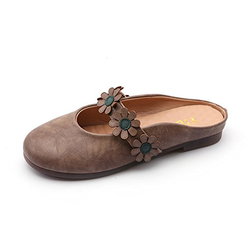 Female pit4tk Flat Out Slides Heel Toe Sandals Beige Casual Summer Hollow Women Mules Slippers Pointed OOT1WxgRn