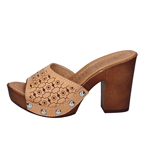 IN Marrone Femme Mules MADE Pour cuoio ITALY fnwwqCxpd
