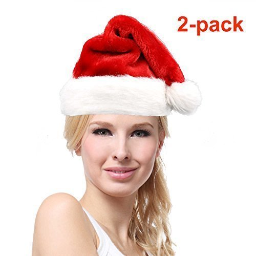 YAXXO Santa Claus Hat For Adults - Deluxe Plush Rubie Red (2-pack) Adult Plush Santa Hat