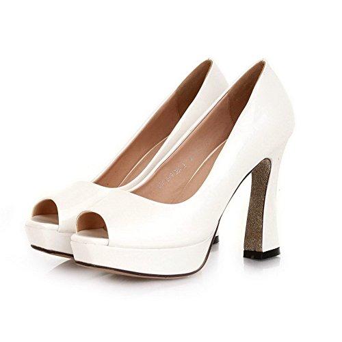 VogueZone009 Womens Open Peep Toe High Heel Platform Chunky Heels PU Patent Leather Solid Pumps, White, 3 UK