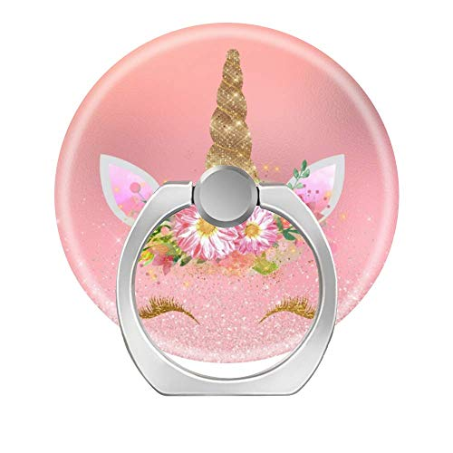Lovesup Expanding 360 Rotation Cell Phone Socket Ring Holder,Mobilephone Kickstand Pop Grip with Car Mount for All Smartphones,Cases,Tablets-Unicorn Smiling Lashes Pink Rose Gold Glam Flowers