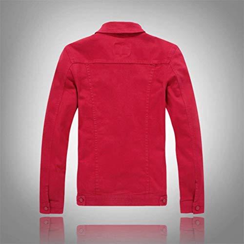 Lunga Lunga Lunga Denim Libero Cappotto Cappotto Cappotto Cappotto Giacca Rosso Manica Semplice Slim Stile Lunga Tinta Manica Uomo Unita Giacca Denim da Risvolto Tempo Giacche Coat Denim qgawAA