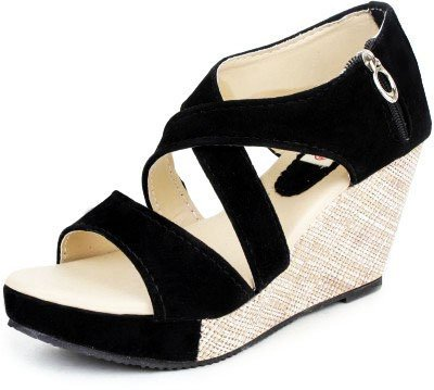 e0abac88a628f Kanchan Women s Heel Delux Zip Black Sandal (Indian 7 Eu 40)  Buy ...