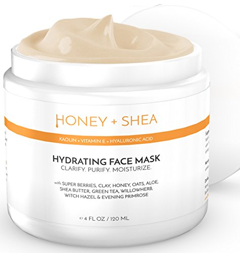 Hydrating Face Mask with Hyaluronic Acid, Superfoods, Clay, Antioxidants, Natural and Clean Ingredients, Honey, Aloe Vera, Green Tea & Super Berry Complexes for Deep Moisturizing Skin (4 Ounces) (Bioactive Hyaluronic Acid Complex)