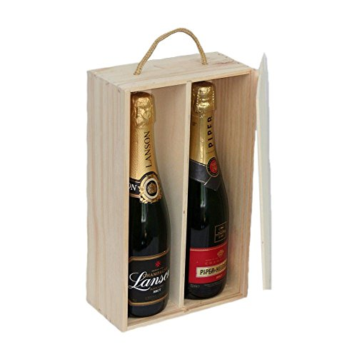 Two Bottle Sliding Lid Wooden Box by Red Hamper