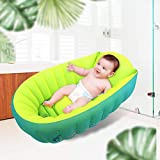 Thickened Inflatable Baby Bathtub, Anti- Slip Toddler Bathing Tub, Mini Swimming Pool for Baby, Green & Yellow for 0-3 Years Old Baby.