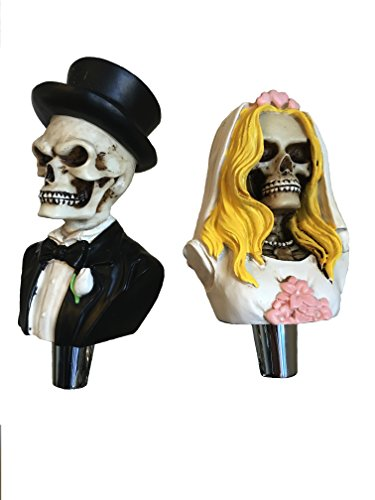 Dead Bride And Groom Skull Beer Tap Handle Set for Kegerators and Bars Dead Skeleton Walking]()