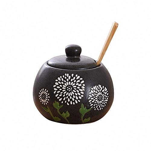 Retro Japanese Style Ceramic Flower Sugar Bowl Salt Spice Pot Pepper Storage Jar Seasoning Pot Container Condiment Box with Lid and Wooden Spoon for Home Kitchen, Dandelion, 15 Oz, Black