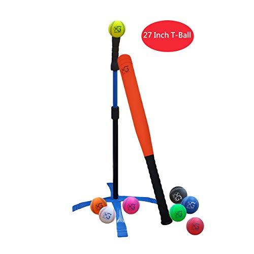 Baby School High Tee - Macro Giant 27 Inch Safe T Ball, Tee Ball, T-Ball Set, 1 Orange Foam Bat and 8 Foam Baseballs for Kids, Assorted Colors, Training Practice, Youth Batting Trainer, Beginner, School Playground, Kid Toy