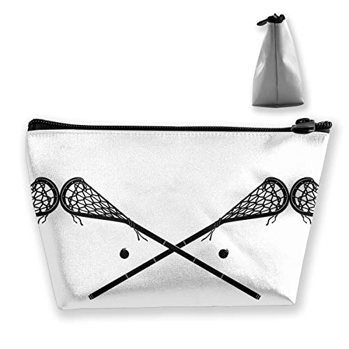 Trapezoidal Storage Lacrosse Crossed Sticks Logo Personalized Women Cosmetic Bag Travel Handbag Purse Wallet Holder