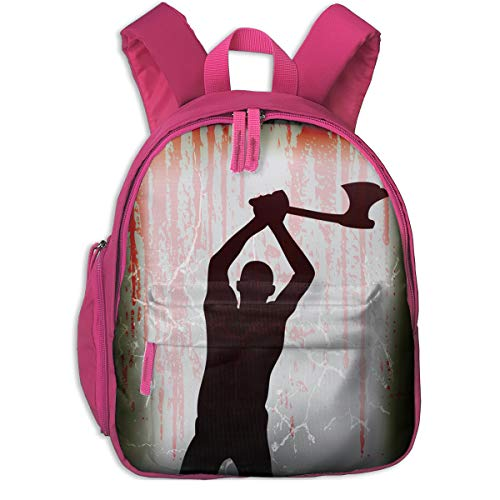 Halloween Mad Axe Man Double Zipper Waterproof Children Schoolbag With Front Pockets For Teens Boy Girls