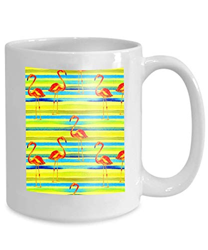 (mug coffee tea cup summer beach background hand painted tropic summer motif flamingo stripe tropical pattern Simple 110z)
