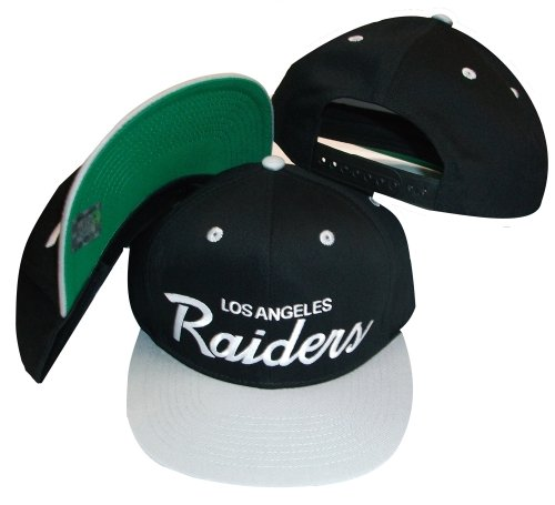 Los Angeles Raiders Black/Silver Two Tone Plastic Snapback Adjustable Plastic Snap Back Hat / Cap ()