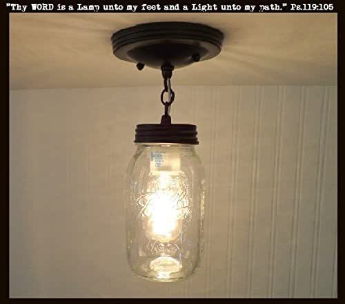 Amazon.com: Mason Jar Ceiling LIGHT With Chain & NEW Quart