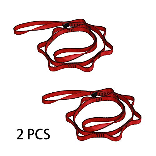 Geelife Daisy Chain Rope 2 pcs Looped Strong Straps 23 kN Climbing Nylon Daisy Chains Lanyard 53 Inches (Red)
