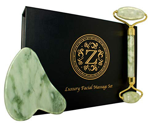 Jade Roller and Gua Sha Set – Luxury Facial Massage Set by Zamlinco – Natural Jade Stone Massager Anti Aging Skin Care…