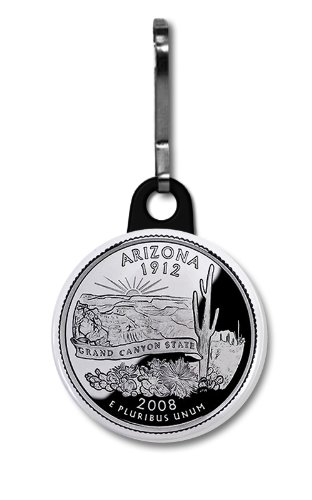 ARIZONA State Quarter Mint Image 1 inch Zipper Pull Charm