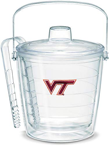 Tervis 1007665 Virginia Tech Hokies Logo Ice Bucket with Emblem and Clear Lid 87oz Ice Bucket, Clear -