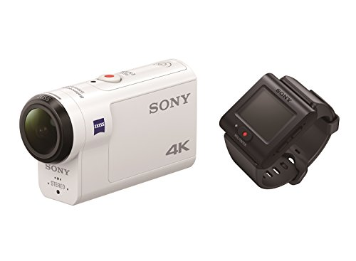 Sony FDR-X3000R 4K Action Cam mit BOSS (Exmor R CMOS Sensor, Carl Zeiss Tessar Optik, GPS, WiFi, NFC) mit RM-LVR3 Live View Remote Fernbedienung, weiß