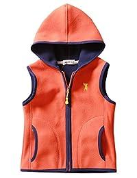 Girls Winter Waistcoat Zipper Up Hoodies Polar Fleece Warm Winter Outdoor Outwear Vest 7-8T Orange