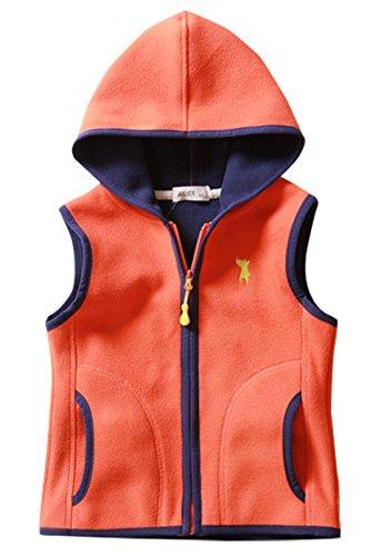 Little Boys Winter Vest Zipper Up Hooded Collar Sleeveless Trendy Waistcoat 3-4T Orange