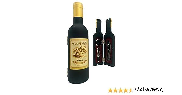 Disok- Set 3 piezas en estuche forma botella de vino, Multicolor (4650)