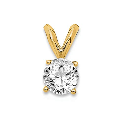 Jewels By Lux 14K Yellow Gold 1/3ct. Round Lab Grown Diamond Vs/si, D E F, Solitaire Pendant (Si Solitaire Pendant)