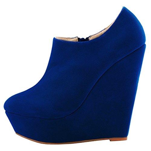EKS Women's Damiasu Wedge Heels Platform Pure Color Zipper Dress Boots Blue