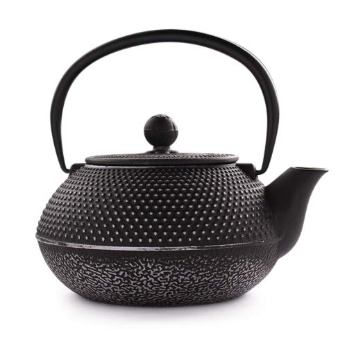 - 27 Oz Cast Iron Teapot Japanese Tetsubin Teakettle with Stainless Steel Infuser - Enamel Coated Interior